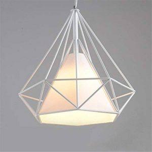Lampes de Plafond Abat-Jour pour Lampe Suspension Lustre Cage en Fer Forme Diamant avec Douille Eclairage Style Industrielle (sans ampoule) (25cm, Support Blanc+Abat-jour Blanc) de la marque SWUK image 0 produit