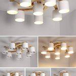 Lampes de plafond en bois massif rond créatif, LED nordique LED gris/vert / blanc éclairage lustres décoratifs de la marque DFND image 1 produit