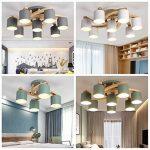 Lampes de plafond en bois massif rond créatif, LED nordique LED gris/vert / blanc éclairage lustres décoratifs de la marque DFND image 3 produit