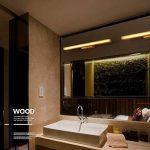 Lampes de salle de bains au-dessus du miroir, luminaire de vanité de LED avec la lumière normale, corps en bois et abat-jour acrylique, applique de mur pour l'allée, lampe avant de miroir de commode de la marque MZ image 4 produit