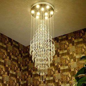*lampes suspendues intérieures Lustres en cristal, Duplex Villa Escalier Grand salon Long Lustre Lustre de ménage (taille : 10 lights/70 * 220cm) de la marque Yxx max image 0 produit