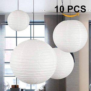 Lampion Chinois Abat-jour en Papier Lanterne Boule avec LED pour Décoration de Mariage Maison Noël Fête (Lot de 10pcs) (40cm, blanc) de la marque Dazone image 0 produit