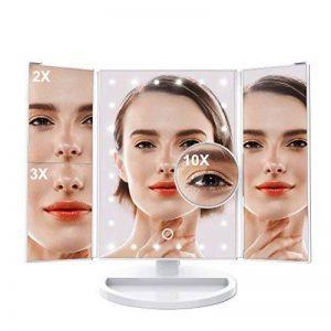 LANGRIA 24 LED Miroir Maquillage Lumineux Écran Tactile Petit Miroir Ronde Mural Grossissant 10X Ventouse - Miroir Triple Rotation de 180 degrés Batterie Charge USB (38cm X 30.5cm,Blanc) de la marque LANGRIA image 0 produit