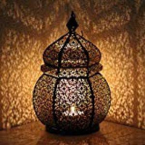 Lanterne Marocaine en Métal Turquoise - Effet Vieilli avec Bougie à LED Éclairage Vacillant 26,50cm de la marque Festive Lights image 0 produit