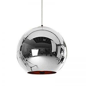 LC Abat-jour Moderne Cuivre Miroir Lustre Boule Suspension globe en Chrome avec fil 120CM,Diamètre 30cm,Argent de la marque Huahan Extension image 0 produit