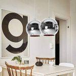 LC Abat-jour Moderne Cuivre Miroir Lustre Boule Suspension globe en Chrome avec fil 120CM,Diamètre 30cm,Argent de la marque Huahan Extension image 3 produit