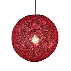 LC Suspension sisal Abat-jour Boule Ronde lustre rotin,Diamètre 23CM,Rouge de la marque Huahan Extension image 0 produit