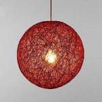 LC Suspension sisal Abat-jour Boule Ronde lustre rotin,Diamètre 30CM,Rouge de la marque Huahan Extension image 2 produit