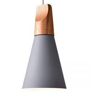 Le Homeware E27 Métal Moderne Suspensions Luminaire Pendentif de l'ombre Bois et Aluminium Lustre de l'abat - jour ( ampoule non inclus ) AC110-240V 13cm x 28cm Gris de la marque le homeware image 0 produit