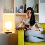 LE Lighting EVER Lampe de Chevet E27, Socle en Bois Carré, Abat-jour en Tissu, pour Bureau Chambre Salon Hotêl Café, Rectangulaire de la marque Lighting EVER image 3 produit