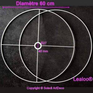 Lealoo Grand Set d'Ossature Diamètre 60cm pour Abat-Jour, Anneaux Ronds Epoxy Blanc, pour Douille diam 40mm E27 de la marque Lealoo image 0 produit