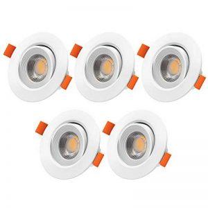 LED encastrable, veelicht Lot de 5Spot LED encastrable 5W, 450lm, blanc chaud, AC 220–240V, spot LED encastrable, spot de plafond, Spot à encastrer au plafond, orientable de la marque Veelicht image 0 produit