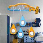 LED Plafond, Bande Dessinée en Bois Art Avion Forme Goutte d'eau Plafonniers, Personnalité Créative Enfants's Room Model Room Moderne Lustre de la marque GJX image 2 produit