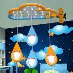 LED Plafond, Bande Dessinée en Bois Art Avion Forme Goutte d'eau Plafonniers, Personnalité Créative Enfants's Room Model Room Moderne Lustre de la marque GJX image 4 produit