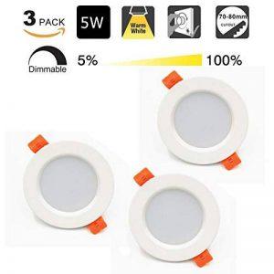 LED Spot Encastrable 5W 450lumen 220V IP44 Dimmable Blanc Chaud pour salle de bain et salon Spot rond pièce de bain avec 3 pièce de la marque tvfly image 0 produit