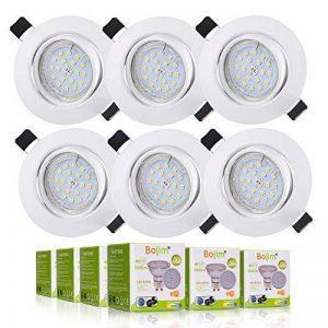 LED Spots Encastrables Orientable,Bojim 6x GU10 Lampe de Plafond Blanc du jour Carré Plafonnier Encastré 6W 4500K 600lm Equivalente de 54W Lampe 30°Orientable 120°d'éclairage 220V Non Dimmable de la marque Bojim image 0 produit