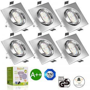LED Spots Encastrables Orientable,Bojim 6x GU10 Lampe de Plafond Blanc du jour Carré Plafonnier Encastré 6W 4500K 600lm Equivalente de 54W Lampe 30°Orientable 120°d'éclairage 220V Métal Nickel Non Dimmable de la marque Bojim image 0 produit