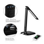 LEDGLE 8W Lampe de Bureau LED Pliable, Écran LCD Affichage Date/Heure/Temp,3 Mode d'éclairage et 5 Niveaux de Luminosité, 5V/1A Port USB pour Cadeau de Noël-Noir de la marque LEDGLE image 3 produit