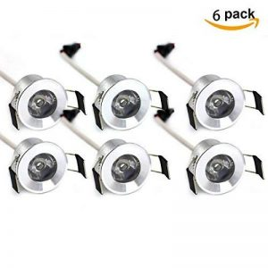 Lediary Under Cabinet Mini LED Spots encastrés plafond encastrable Petite Downlight Cabinet Mini lumière LED 6000K (lumière du jour Blanc) 1,5W, 1030020 * 6 1.50W de la marque LEDIARY image 0 produit