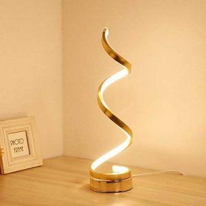 LEDMOMO LED spirale lampe de table moderne minimaliste acrylique lampe de table incurvée nuit lumière lampe de chevet pour la maison décoration salon bureau enfants blanc chaud avec prise européenne (or) de la marque LEDMOMO image 0 produit
