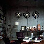 Lembeauty Lustre/suspension en forme de cube de type industrielle Style vintage, teinte métallique noire Idéal pour café, bar ou cuisine Ampoules E27 non incluses de la marque Lembeauty image 2 produit