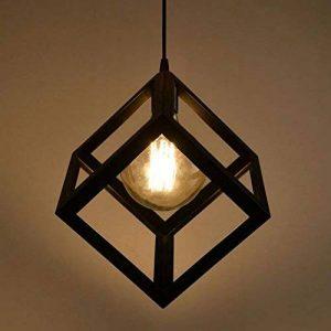 Lembeauty Lustre/suspension en forme de cube de type industrielle Style vintage, teinte métallique noire Idéal pour café, bar ou cuisine Ampoules E27 non incluses de la marque Lembeauty image 0 produit