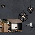 Lembeauty Lustre/suspension en forme de cube de type industrielle Style vintage, teinte métallique noire Idéal pour café, bar ou cuisine Ampoules E27 non incluses de la marque Lembeauty image 3 produit
