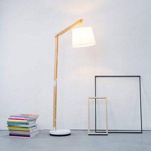 Lightbox Lampadaire moderne en bois avec abat-jour en textile 1 culot E27Max.60W Métal/bois/textile Bois clair/blanc de la marque Lightbox image 0 produit