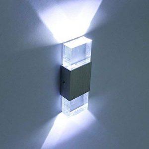 Lightess Applique murale 2 Mini LEDs en Aluminium 6W Lumiaire Intérieur Design Eclairage Lampe Original Décorative pour Chambre Escalier Salon Bureau - Blanc Froid de la marque SISVIV image 0 produit