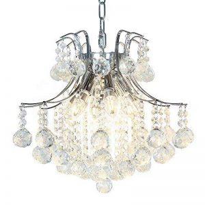 Lightess Lustre en Cristal Moderne Finition Chromée Plafond Pendentif Luminaires avec pour Chambre Bureau Salle à manger Chambre à coucher Salon Hôtel de la marque Lightess image 0 produit