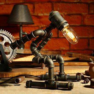 LILY Lampe de table industrielle vintage LDE Lampe de bureau rustique en acier à tube d'eau, Steampunk Base en fer forgé Lampe de table ancienne pour chambre à coucher Chambre Bar Café E27 ( Color : C ) de la marque LILY image 0 produit