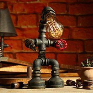 LILY Lampe de table industrielle vintage LDE Lampe de bureau rustique en acier à tube d'eau, Steampunk Base en fer forgé Lampe de table ancienne pour chambre à coucher Chambre Bar Café E27 ( Color : B ) de la marque LILY image 0 produit