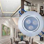Liqoo® Lot de 10 Spots LED Projecteur Encastré Lampe Plafonnier Orientable Rond 3W Blanc Froid 6000K 300LM AC 85V-265V Transfo Fourni IP44 Imperméable Remplacement à 30W Métal Brossé Le trou 75mm de la marque Liqoo image 1 produit