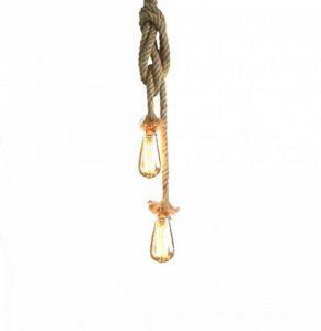 Lixada AC 220V E27 Vintage Style Rustique Luminaire Rétro Lampe Suspension en Corde chanvre pour Restaurant Bar Cafe Lighting Utilisation ( double douille, ampoule n'est pas inclus, longueur marquee = deux cables plus ) de la marque Lixada image 0 produit
