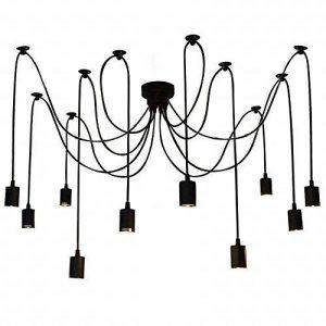 Lixada E27 Douille Rétro abat-jour Suspensions Vintage ajustable Rétro Lustre plafond Lampe Dining Hall Chambre Hôtel 10 bras (pas d'ampoule) de la marque Lixada image 0 produit