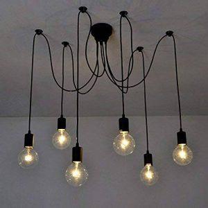 Lixada E27 Douille Rétro abat-jour Suspensions Vintage ajustable Rétro Lustre plafond Lampe Dining Hall Chambre Hôtel chacune avec 1.7m fil,6 bras (pas d'ampoule) de la marque Lixada image 0 produit