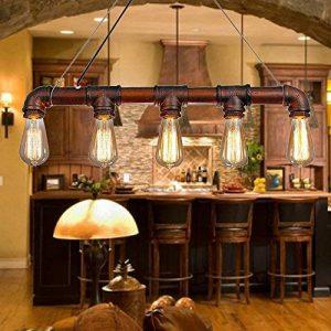 Lixada Rétro Lampe Vintage suspension, Industrielle Lampe,Bronze en métal E27 Ampoules Conception de tuyau d'eau Eclairage de Chambre Salon Salle (sans ampoule ) de la marque Lixada image 0 produit