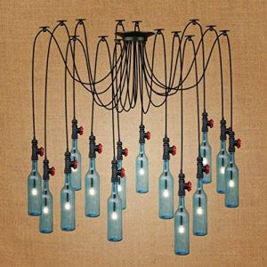LJF Vintage bouteille lustre, bleu bouteille de vin lampe suspendue hôtel plusieurs chefs restaurant lustre industrie tuyau d'eau décoratif lustre E27 Sûr et durable (taille : #8) de la marque LJF Chandelier image 0 produit