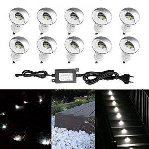 Lot de 10 QACA Spot Encastrable LED Exterieur pour Terrasse Patio, Cour, Accueil, Allée, Escalier Extérieur, Spot exterieur Eclairage Etanche IP65 DC 12V (Blanc froid) Φ26mm x H41mm de la marque QACA image 0 produit