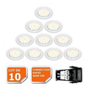 LOT DE 10 SPOT LED ENCASTRABLE COMPLETE RONDE FIXE eq. 50W LUMIERE BLANC NEUTRE de la marque Lampesecoenergie image 0 produit