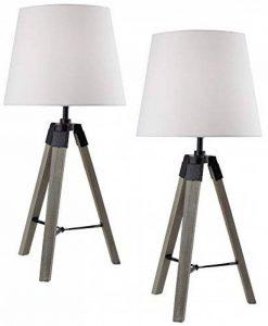 Lot de 2 BRUBAKER Lampes de table tripode ou Lampes de chevet 57 cm Bois Gris argenté/Blanc - Designed in Germany de la marque Brubaker image 0 produit