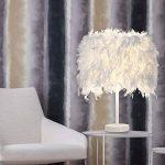 Lot de 2 Luminaire plume, Lampe de chevet, Chambre vintage chambre Décoration de maison, Lampe de table moderne, Commutateur de bouton de support de E27, Avec ampoule de la marque MONODY image 4 produit