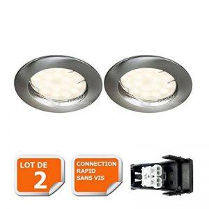 LOT DE 2 SPOT LED ENCASTRABLE COMPLETE RONDE FIXE ALU BROSSE eq. 50W BLANC NEUTRE de la marque Lampesecoenergie image 0 produit