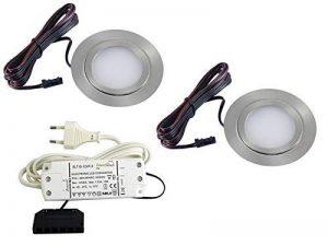 Lot de 2spots LED encastrables pour meubles slim Plate 3W 5050SMD Blanc Chaud 3000K Ultra Plat ft de 1013N de la marque vislux image 0 produit