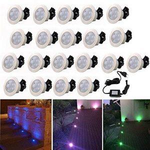 Lot de 20 Lampe de Spot Encastrable RGB LED pour Terrasse Patio Extérieur avec Télécommande Dimmable, DC 12V IP67 Etanche Lumière Spots à Encastrer Acier inoxydable Déco pour Plafond Chemin autour de Piscine de la marque 7Colors image 0 produit