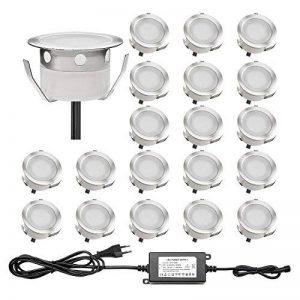 Lot de 20 QACA Encastré Terrasse Bois Luminaire Kits LED Spot Encastrables Etanche pour Patio Escalier DC 12V Etanche IP67 (Bleu) de la marque QACA image 0 produit