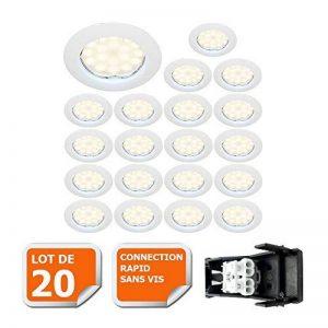 LOT DE 20 SPOT LED ENCASTRABLE COMPLETE RONDE FIXE eq. 50W LUMIERE BLANC NEUTRE de la marque Lampesecoenergie image 0 produit