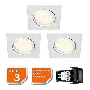 LOT DE 3 SPOT ENCASTRABLE ORIENTABLE CARRE LED SMD GU10 230V BLANC RENDU ENVIRON 50W HALOGENE de la marque Lampesecoenergie image 0 produit