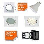 LOT DE 3 SPOT ENCASTRABLE ORIENTABLE CARRE LED SMD GU10 230V BLANC RENDU ENVIRON 50W HALOGENE de la marque Lampesecoenergie image 2 produit