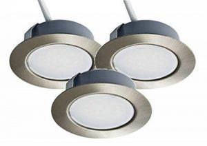 Lot de 3spots LED encastrables Trango TGG4E-012 de 12V AC/DC pour remplacer les lampes G4 traditionnelles pour meubles, hottes de cuisine, etc. Aspect acier inoxydable. Acier inoxydable de la marque Trango image 0 produit